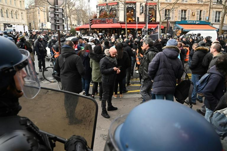 Striking workers demonstrated at the Gare de Lyon train station in Paris against the govenrment's proposed pension overhaul