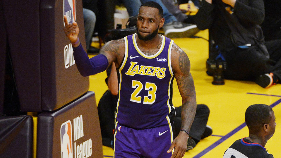 LeBron James, pictured here in action for the Los Angeles Lakers in 2019.