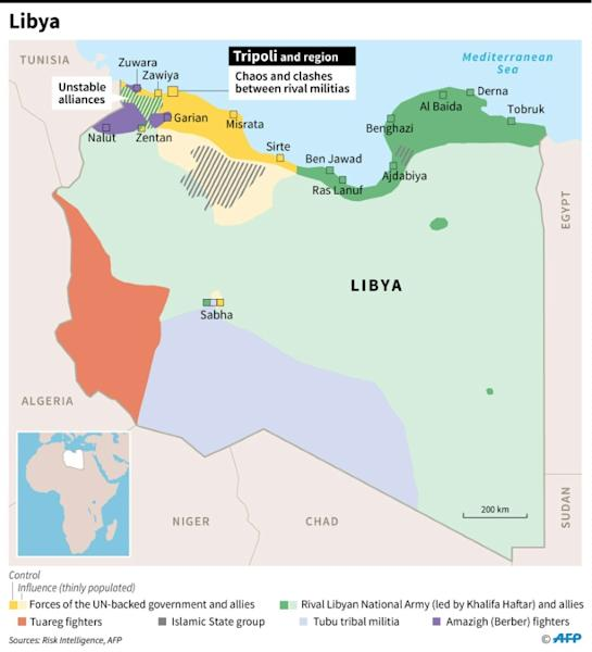Map showing areas of control in Libya on September 4
