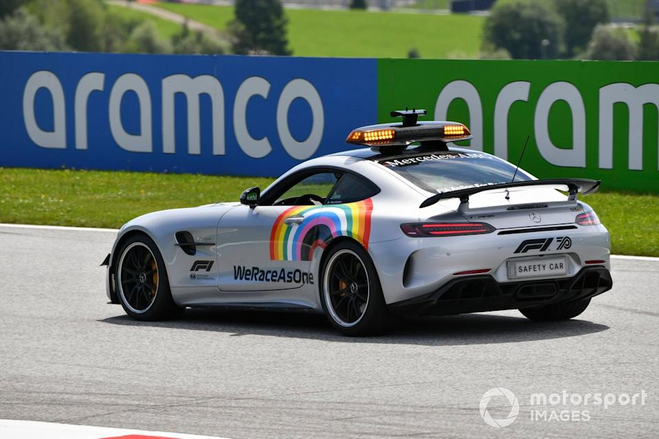 "Safety Car with We Race As One Logo<span class=""copyright"">Mark Sutton / Motorsport Images</span>"