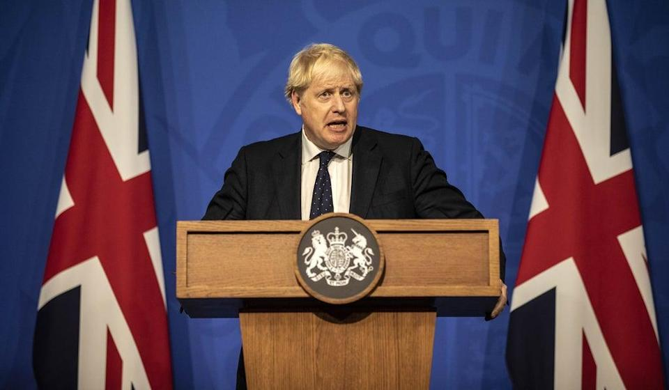 Prime Minister Boris Johnson during a media briefing in Downing Street (Richard Pohle/The Times/PA) (PA Wire)