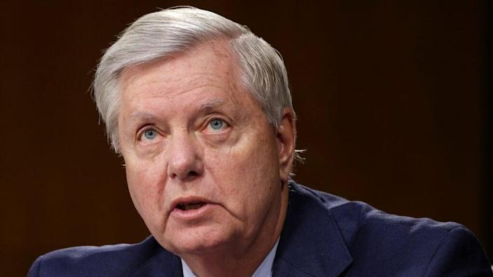 Republican South Carolina Sen. Lindsey Graham speaks during a recent Senate Appropriations Committee hearing to examine proposed budget estimates and justification for fiscal year 2022 for the Department of Defense. (Photo by Evelyn Hockstein-Pool/Getty Images)