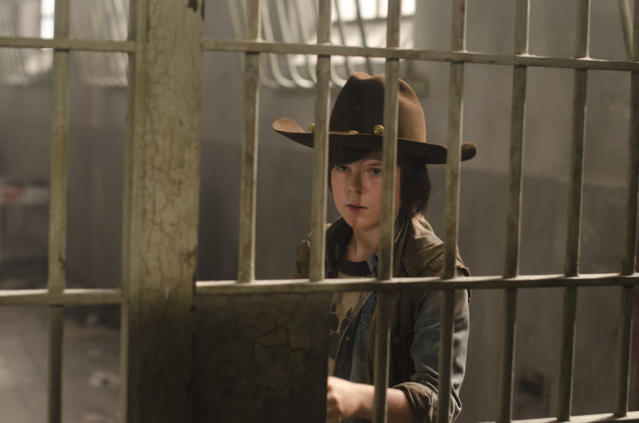 "Carl Grimes (Chandler Riggs) in ""The Walking Dead"" episode, ""Sick."""