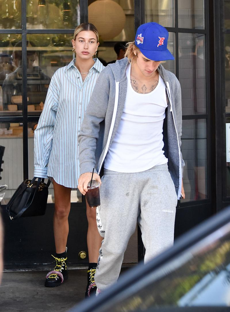 Hailey Baldwin and Justin Bieber out and about in Los Angeles in October. (Photo: BG015/Bauer-Griffin via Getty Images)