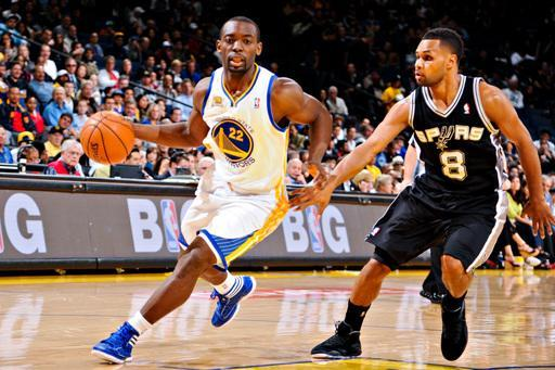OAKLAND, CA - APRIL 26: Charles Jenkins #22 of the Golden State Warriors drives against Patrick Mills #8 of the San Antonio Spurs on April 26, 2012 at Oracle Arena in Oakland, California. (Photo by Garrett Ellwood/NBAE via Getty Images)