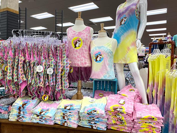 Clothes inside a Buc-ee's store.