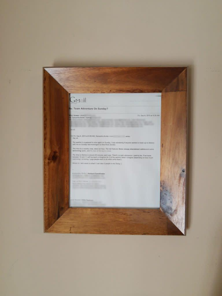 A framed copy of the infamous hike email, gifted to the couple by a former colleague <br> Credit: Samantha Hassan-Butler