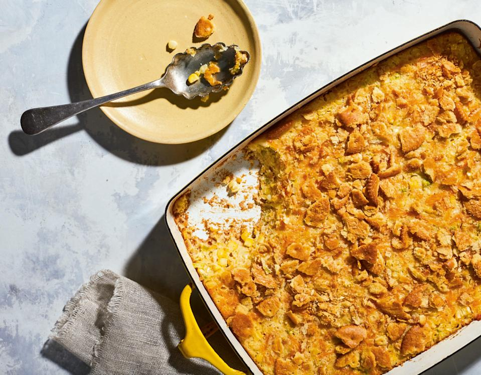 "This savory side is sure to be everyone's favorite dish, whether it's served hot out of the oven or cool from the fridge. <a href=""https://www.epicurious.com/recipes/food/views/mississippi-corn-pudding?mbid=synd_yahoo_rss"" rel=""nofollow noopener"" target=""_blank"" data-ylk=""slk:See recipe."" class=""link rapid-noclick-resp"">See recipe.</a>"