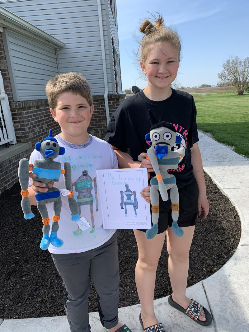 Joshua's older sister wrote a book featuring a robot when she was in Ms. Shannon's class. When it was time for Joshua to write his own, he knew he wanted to continue the story his sister started. (Courtesy of Shannon Anderson)