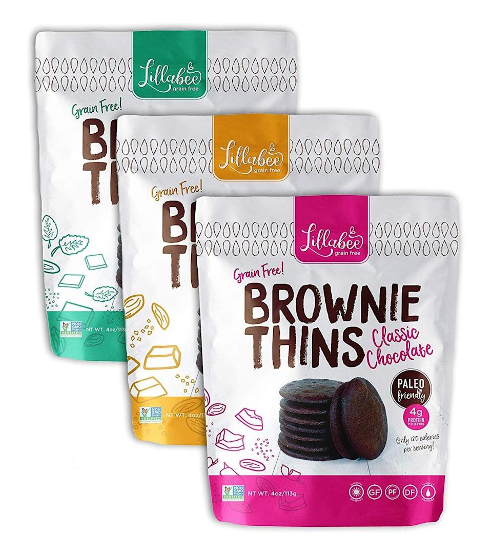 <p>Satisfy your sweet tooth with this <span>Lillabee Brownie Thins Variety Pack</span> ($18).</p>