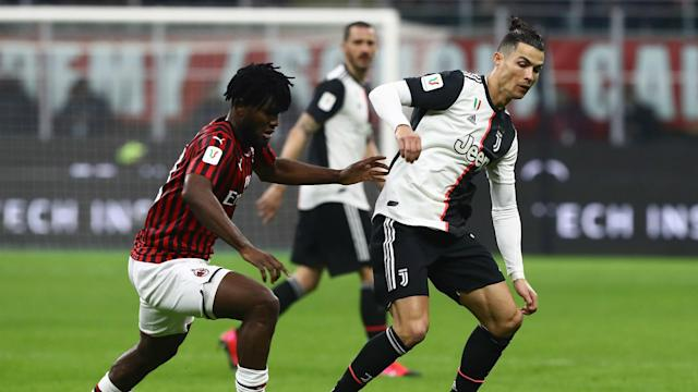 Ante Rebic opened the scoring for Milan but the 10-man hosts were denied a first-leg victory by Cristiano Ronaldo at San Siro.