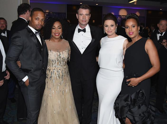 <p>Cornelius Smith Jr., Shonda Rhimes, Scott Foley, Katie Lowes and Kerry Washington attend the Yahoo News/ABC News White House Correspondents' Dinner pre-party at the Washington Hilton, April 30. <i>(Photo: Nicholas Hunt/Getty Images for Yahoo)</i></p>