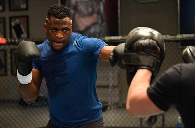 Francis Ngannou is 10-1 overall and 5-0 in the UFC, and already ranked in the top five among heavyweights. (Getty)