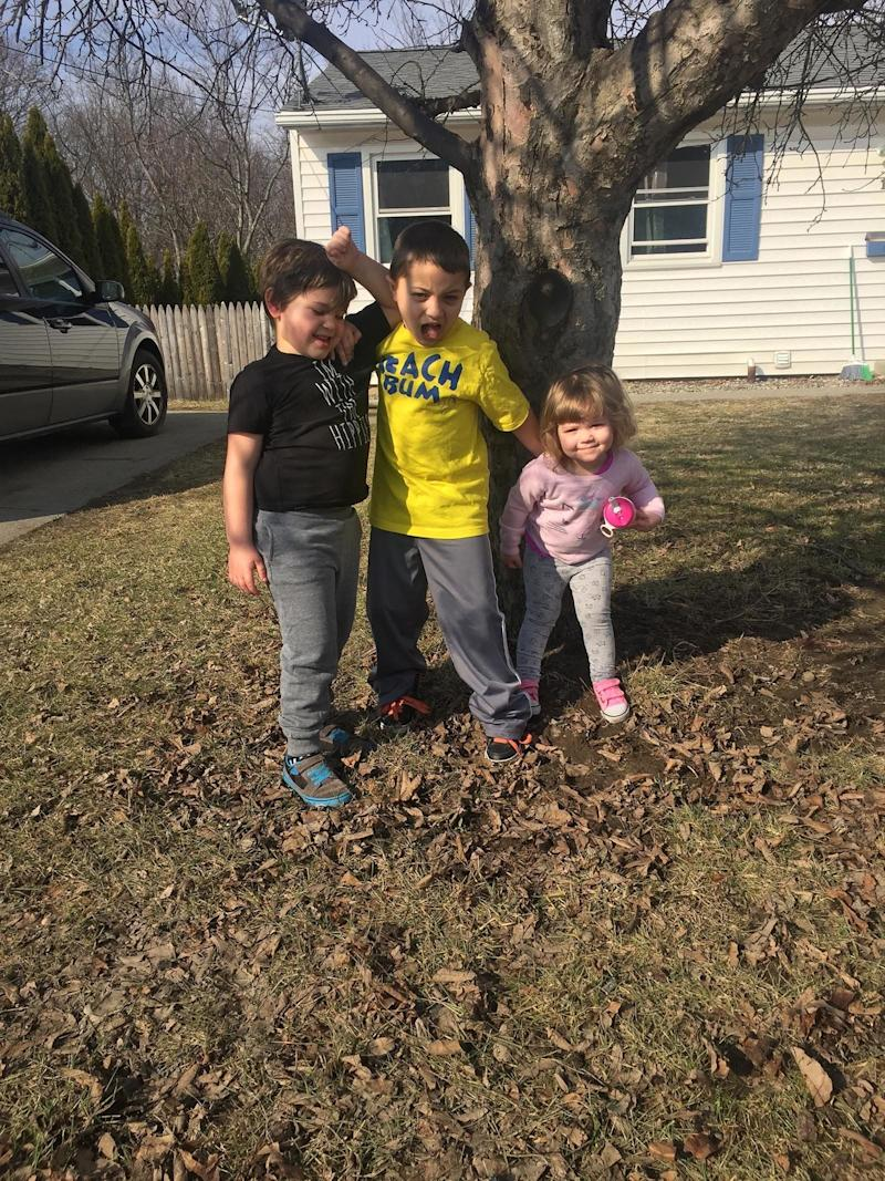 """This is autism in our family. Can you tell which one is on the spectrum? Most people wouldn't guess, being that it's a picture. But, from left to right we have Maxwell who is 6, Gavin who is 8 and Bailey who is 2. Our middle child Maxwell was diagnosed on he autism spectrum at age 4. He's on the more severe end, being non-verbal and having sensory processing disorder. But, although he doesn't communicate, his siblings know when he's happy, sad, agitated, or just plain silly. We are very open and supportive in our household and try to give him as much opportunity as his two other siblings. The most important thing to us is to raise all three of our children to know that they are each other's support system, and family is first, always. We're autism advocates, but firstly, Maxwell advocates."""