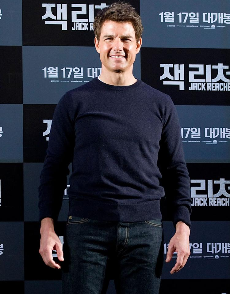 SEOUL, SOUTH KOREA - JANUARY 10:  Actor Tom Cruise attends the 'Jack Reacher' press conference at Conrad Hotel on January 10, 2013 in Seoul, South Korea. The film will open on January 17 in South Korea.  (Photo by Han Myung-Gu/WireImage)