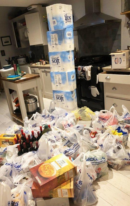 Mr Smollett's enormous food shop resulted in toilet roll being piled nearly up to his kitchen ceiling. (PA)