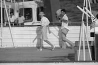 <p>The royal newlyweds aboard the Royal Yacht Britannia on their honeymoon in 1981. The couple sailed around the Mediterranean, ending their trip in Gibraltar. </p>