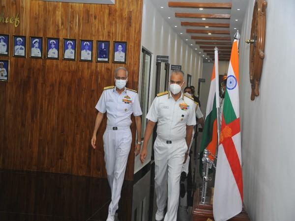 Chief of the Naval Staff (CNS) Admiral Karambir Singh in Oman on Sunday.