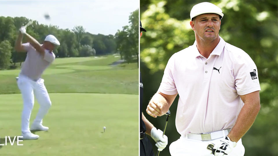 Bryson DeChambeau (pictured left) hitting a 423-yard drive and (pictured right) looking on after a shot.