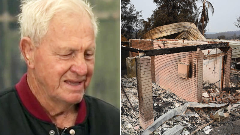 Ron Coote and a house, pictured here after being destroyed in the Lake Conjola bushfires.