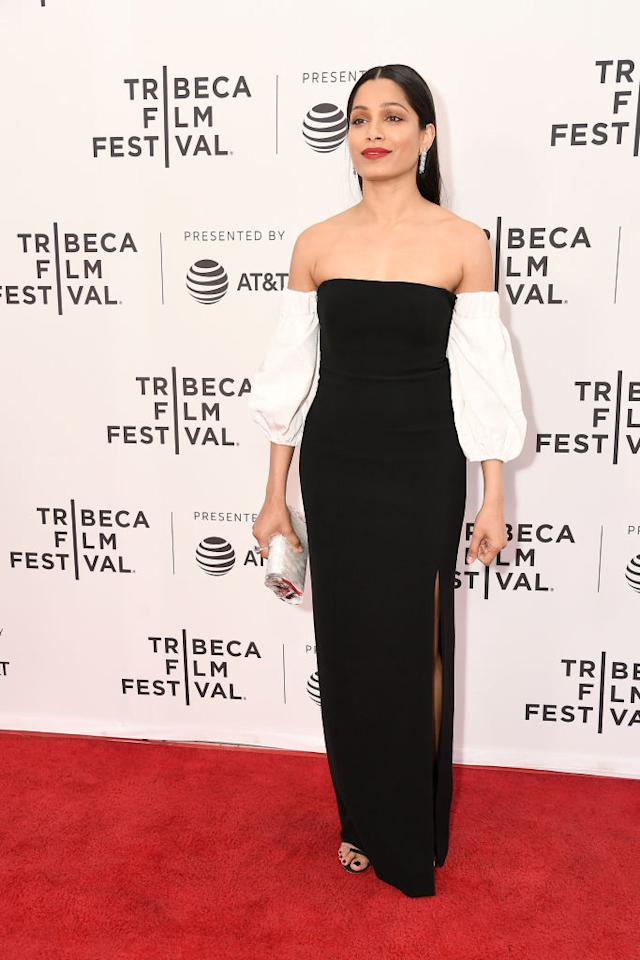<p>The actor wore a black and white TFF dress to attend the 'Only' screening at the Tribeeca Film Festival in New York. <em>[Photo: Getty]</em> </p>