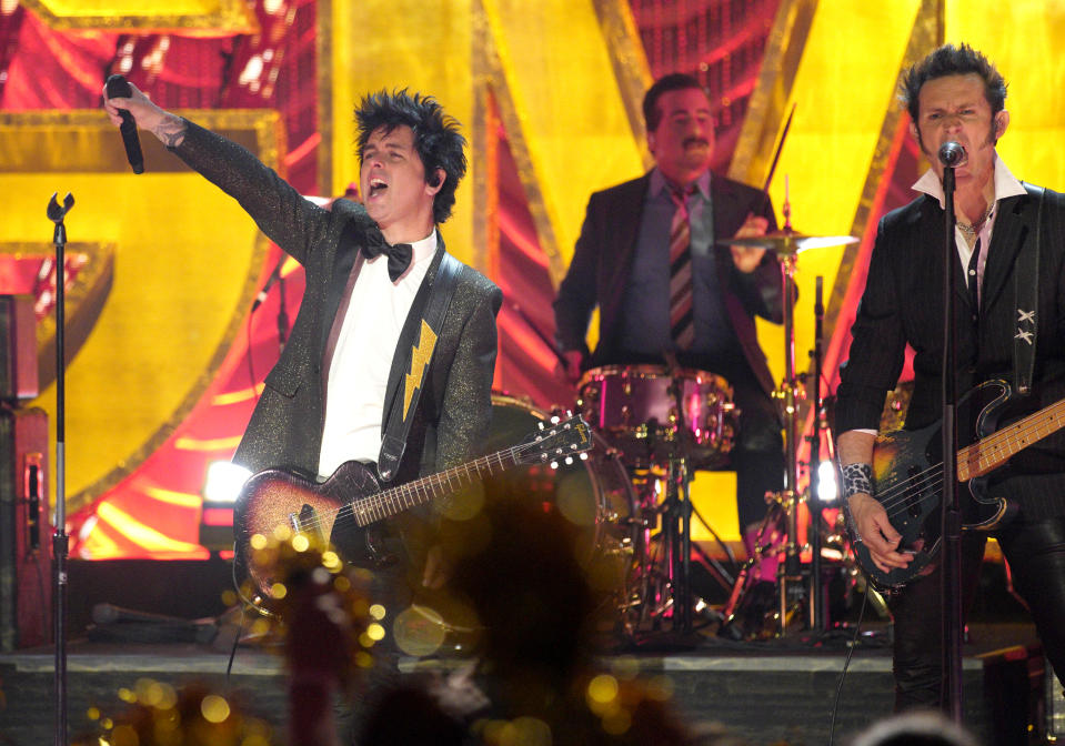 """GOOD MORNING AMERICA - 2/10/20 - GMA celebrates the Oscars® live from the El Capitan Theater in Hollywood, with a live performance by Green Day on """"Good Morning America,"""" Monday, February 10, 2020 on ABC. (Photo by Rick Rowell/ABC via Getty Images) GREEN DAY"""