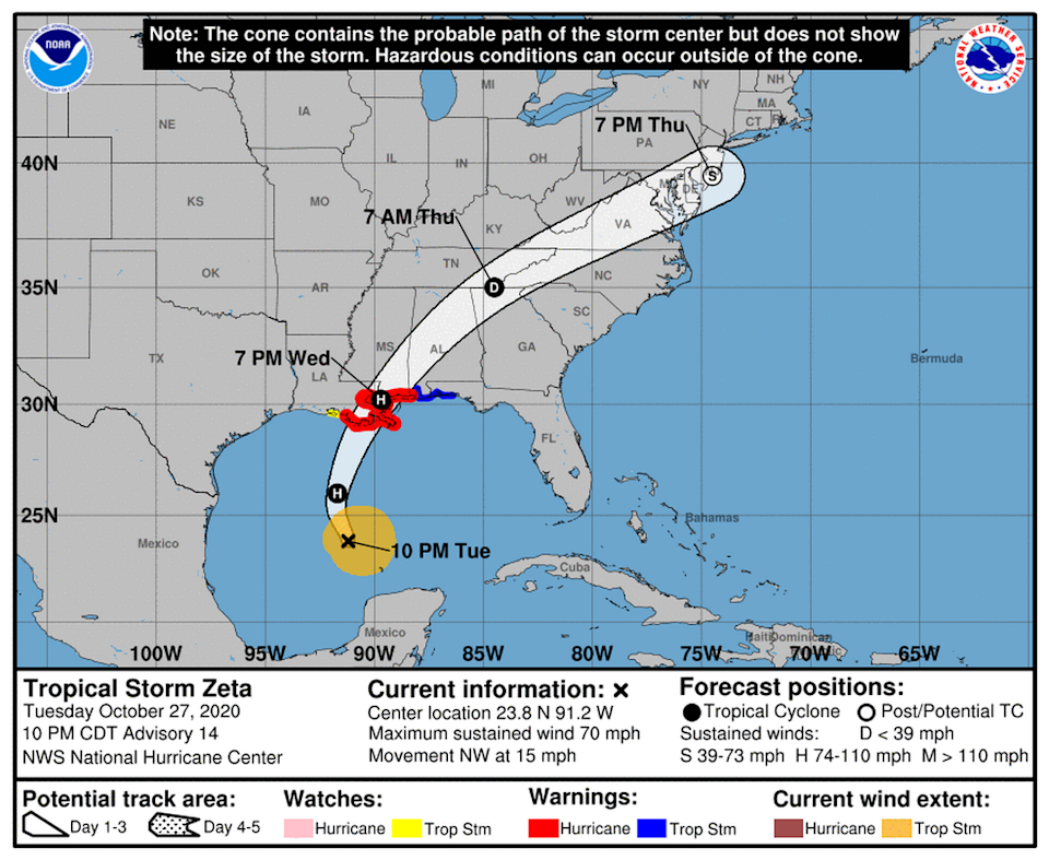Tropical Storm Zeta could strengthen to a hurricane before making landfall in Louisiana Wednesday night.