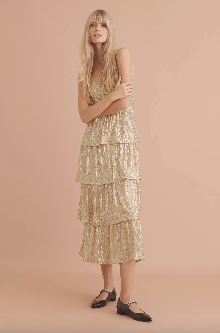 'Bexley' Tiered Sequined Midi Dress (Photo via Anthropologie)