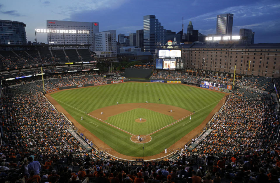 The Toronto Blue Jays and Baltimore Orioles play in the fourth inning of a baseball game at Oriole Park, Monday, May 11, 2015, in Baltimore. (AP Photo/Patrick Semansky)