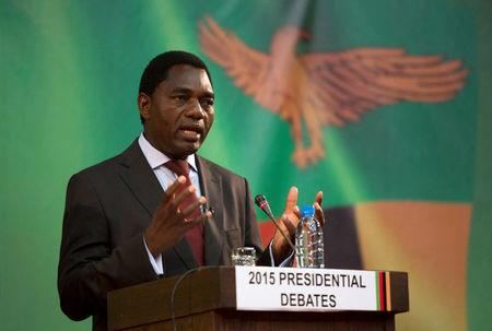FILE PHOTO -  Presidential candidate for the United Party for National Development (UPND) Hakainde Hichilema speaks during a live television debate in Lusaka