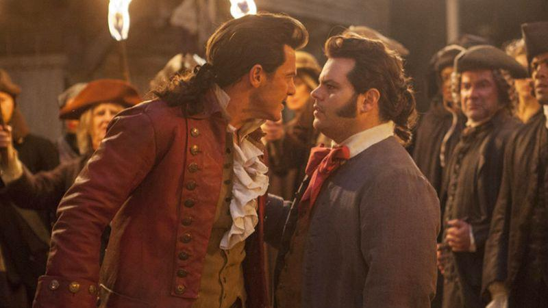 Gaston (Luke Evans) and LeFou (Josh Gad) in 'Beauty and the Beast'. (Credit: Disney)