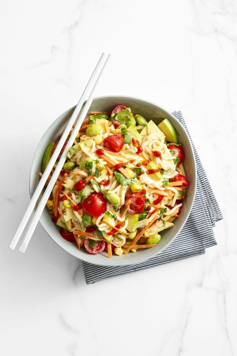 """<p>Ready in 20 minutes, and gluten-free to boot! A juicy sliced Granny Smith adds a sweet-tart note.</p><p><em><a href=""""https://www.goodhousekeeping.com/food-recipes/healthy/a42200/peanutty-edamame-and-noodle-salad-recipe/"""" rel=""""nofollow noopener"""" target=""""_blank"""" data-ylk=""""slk:Get the recipe for Peanutty Edamame and Noodle Salad »"""" class=""""link rapid-noclick-resp"""">Get the recipe for Peanutty Edamame and Noodle Salad »</a></em></p>"""