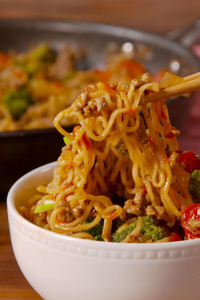 """<p>Ramen=your new favorite stir fry noodles.</p><section></section><p>Get the recipe from <a href=""""https://www.delish.com/cooking/recipes/a50268/beef-ramen-stir-fry-recipe/"""" target=""""_blank"""">Delish</a>. </p>"""