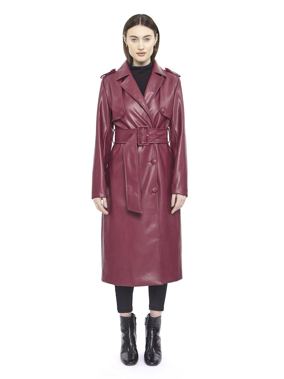 "<p>hilarymacmillan.com</p><p><strong>325.00</strong></p><p><a href=""https://www.hilarymacmillan.com/collections/fw20-1/products/maroon-leather-trench"" rel=""nofollow noopener"" target=""_blank"" data-ylk=""slk:Shop Now"" class=""link rapid-noclick-resp"">Shop Now</a></p><p>Trench coats will never go out of style. Up your trench game with this faux leather version by Hilary Macmillan.</p>"