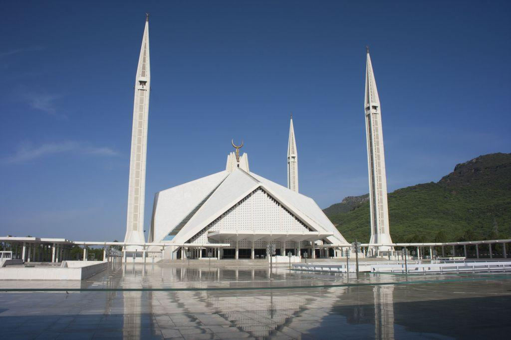 <p>ISLAMABAD, PAKISTAN: The Faisal Masjid in Islamabad is the largest mosque in Pakistan. It is named after the late Saudi King Faisal bin Abdul-Aziz, who financed its construction.</p>