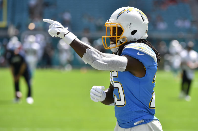 MIAMI, FL - SEPTEMBER 29: Melvin Gordon #25 of the Los Angeles Chargers in action during pregame before the start of the game against the Miami Dolphins at Hard Rock Stadium on September 29, 2019 in Miami, Florida. (Photo by Eric Espada/Getty Images)