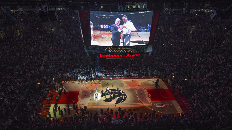 The Toronto Raptors have been reportedly forced by the Canadian government to find a temporary home in the United States for the 2020-21 season. (Rick Madonik/Toronto Star via Getty Images)
