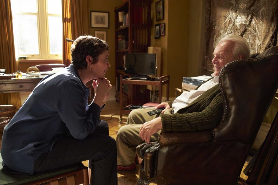 Olivia Colman as Anne and Sir Anthony Hopkins as Anthony in The Father (Lionsgate Films/Sean Gleason)