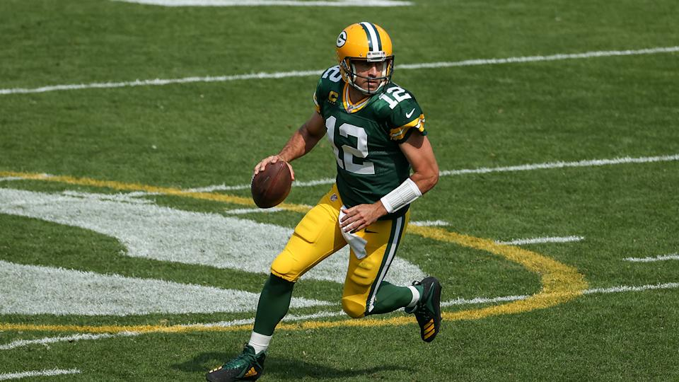 GREEN BAY, WISCONSIN - SEPTEMBER 20: Aaron Rodgers #12 of the Green Bay Packers drops back to pass in the third quarter against the Detroit Lions at Lambeau Field on September 20, 2020 in Green Bay, Wisconsin. (Photo by Dylan Buell/Getty Images)