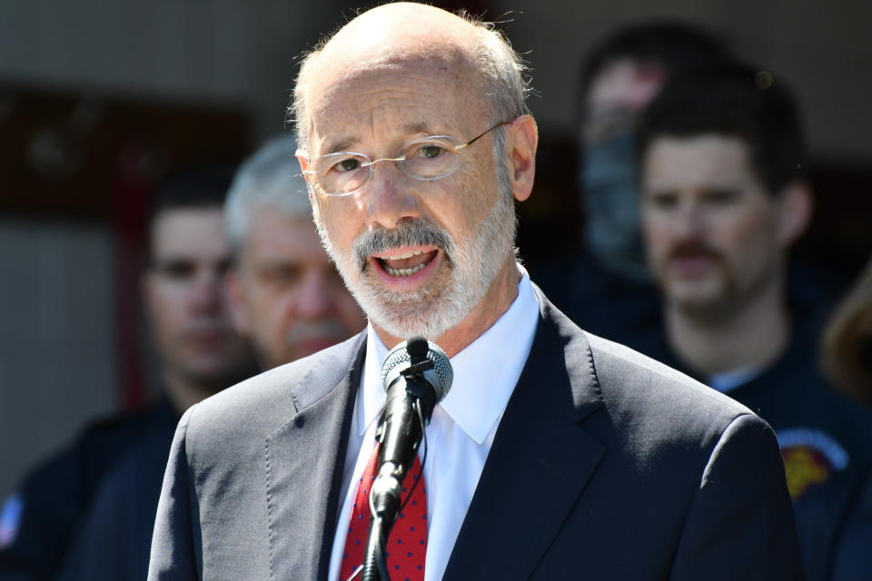 Pennsylvania Gov. Tom Wolf speaks at an event Wednesday, May 12, 2021, in Mechanicsburg, Pa. Businesses could be spared billions of dollars of higher taxes in coming years as a result of federal coronavirus relief funds flowing to the states. Business representatives are encouraging Democratic Gov. Tom Wolf's administration and the Republican-led Legislature to use federal coronavirus relief money to restore the state's unemployment fund. (AP Photo/Marc Levy)