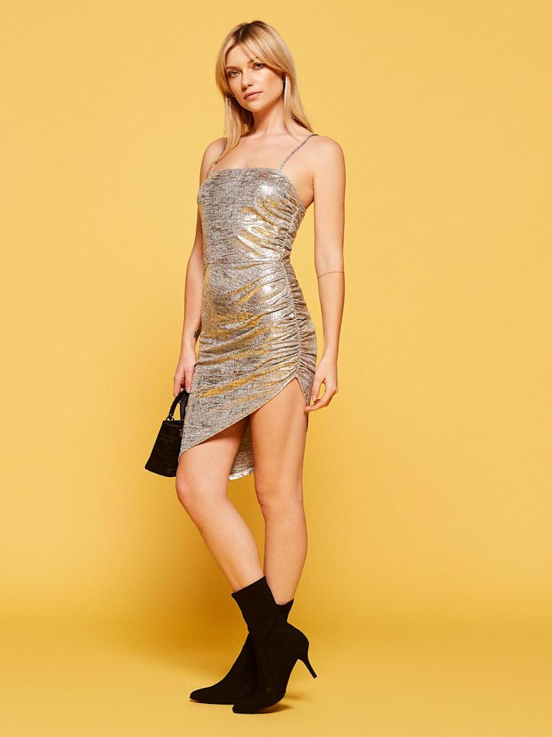ad336ce6654 Wear this chic silver dress with thigh-high boots to keep your NYE outfit  ensemble festive with some added edge.