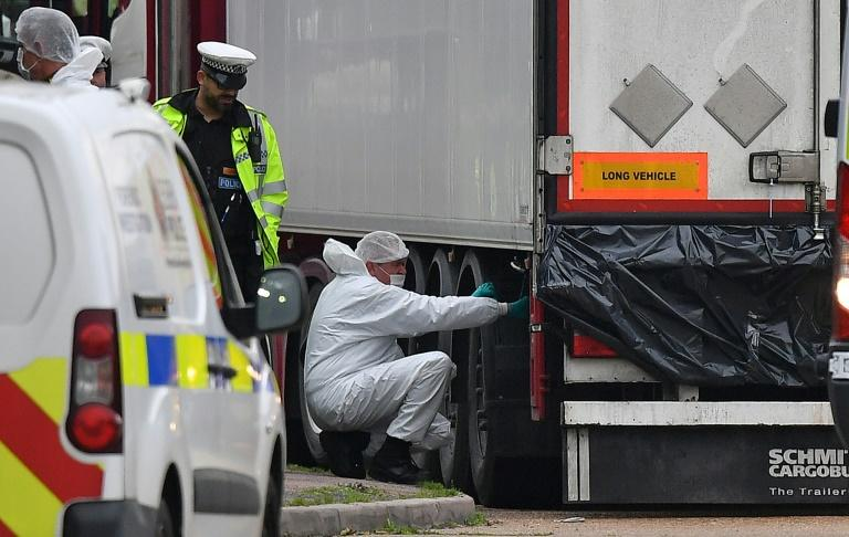 The 39 bodies were found in a refrigerated truck outside London last month (AFP Photo/Ben STANSALL)
