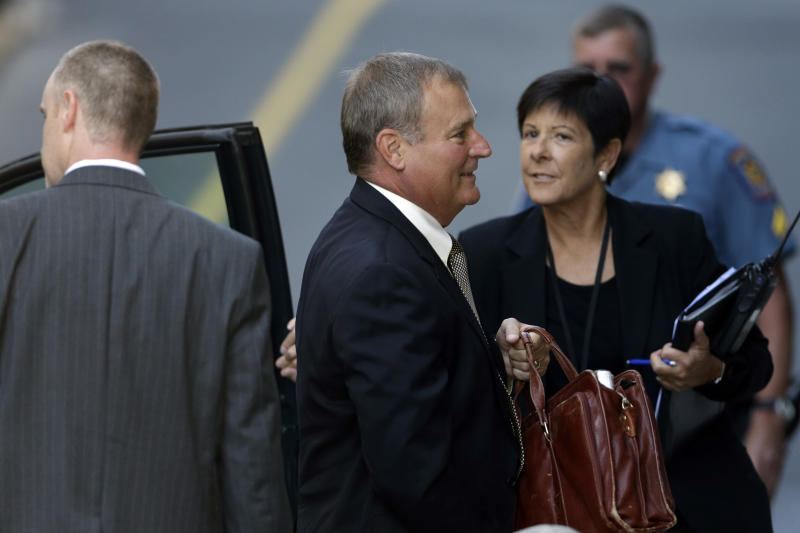 Former Penn State senior vice president Gary Schultz arrives at the Dauphin County Courthouse, Monday, July 29, 2013, in Harrisburg, Pa. Schultz, Graham Spanier and Timothy Curley are to go before a judge Monday to determine whether the three must face trial on charges they covered up an allegation that Jerry Sandusky was sexually preying on boys. (AP Photo/Matt Rourke)