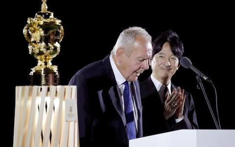World Rugby Chairman Sir Bill Beaumont makes the opening address during the opening ceremony for the Rugby World Cup - Credit: AP