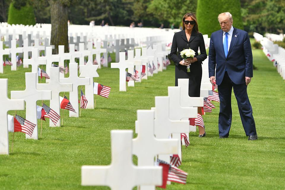 The First Lady was criticised for not removing her sunglasses during the D-Day commemorations on June 6 [Photo: Getty]