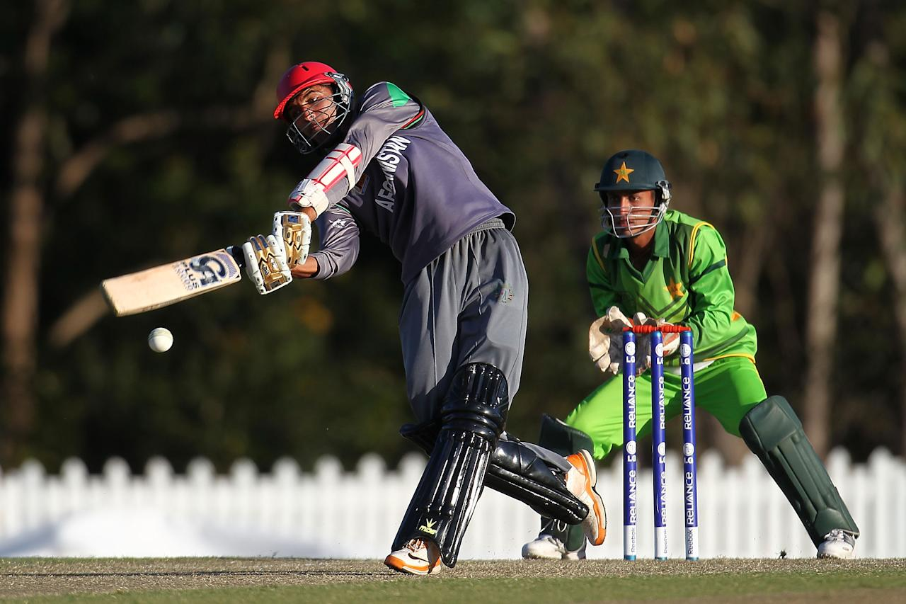 SUNSHINE COAST, AUSTRALIA - AUGUST 11:  Mohammad Yamin of Afghanistan bats during the ICC U19 Cricket World Cup 2012 match between Pakistan and Afghanistan at John Blanck Oval on August 11, 2012 in Sunshine Coast, Australia.  (Photo by Graham Denholm-ICC/Getty Images)