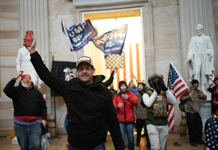 A pro-Trump mob enters the Rotunda of the U.S. Capitol Building on Jan. 6, 2021, in Washington, D.C.