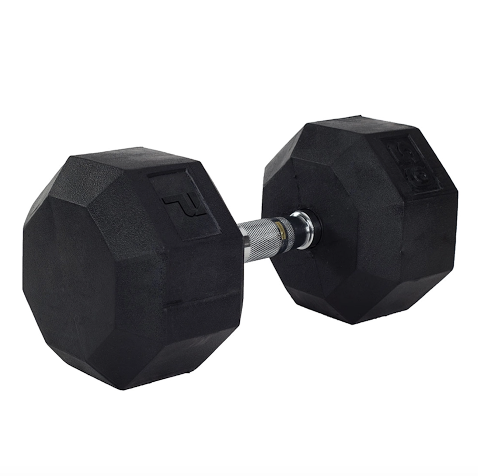 """<p>If you were to browse Amazon, Target, or any local sporting goods store for free weights, chances are you'd be hard-pressed to find any available until mid-July. Lucky for associate digital beauty director Sarah Kinonen, who snapped up two sets of SPRI dumbbells (12- and 15-pounds each) when stay-at-home orders were first put into place in March. </p> <p>""""With gyms and local fitness studios closed for the foreseeable future, my workouts have moved indoors — into my living room,"""" she says. """"Having a number of dumbbells around not means flexibility in my workouts, but now I can join in on my favorite Barry's classes and not have to worry about buying extra equipment."""" While Kinonen's exact weights are sold out, we found an alternative option with 24 weight options, ranging from three to 100 pounds.</p> <p><strong>Starting at $8</strong> (<a href=""""https://www.power-systems.com/shop/product/rubber-octagonal-dumbbell"""" rel=""""nofollow noopener"""" target=""""_blank"""" data-ylk=""""slk:Shop Now"""" class=""""link rapid-noclick-resp"""">Shop Now</a>)</p>"""