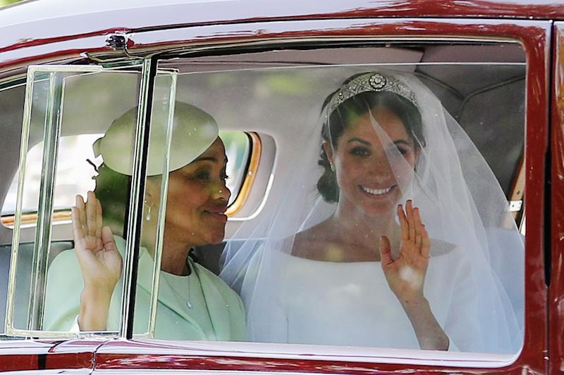 Meghan Markle (R) and her mother en route to the royal wedding.