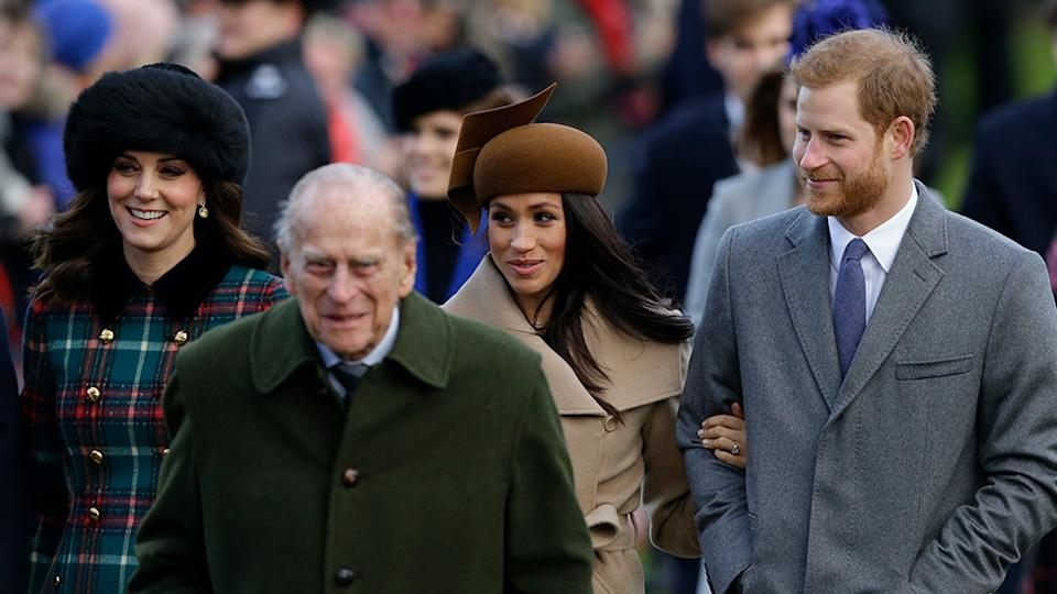 Kate Middleton, Meghan Markle, Prince Harry and Prince Philip on Christmas Day